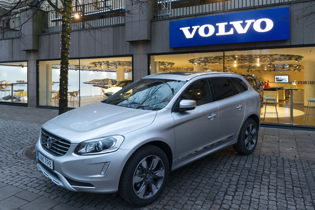 STOCKHOLM, DEC 5: Volvo XC90 car on display outside a official Volvo exhibition hall in Kungstradgarden, Stockholm, Sweden in December 5, 2014.